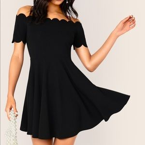 NWT Shein Scallop Off the Shoulder Black Dress